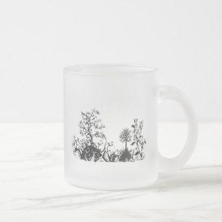 Black & White Swirly Landscape Trees Fruit Hills Frosted Glass Coffee Mug