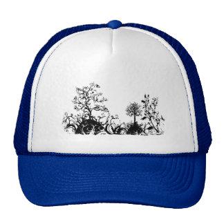 Black & White Swirly Landscape Trees Fruit Hills Hats