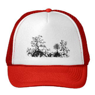 Black & White Swirly Landscape Trees Fruit Hills Trucker Hat