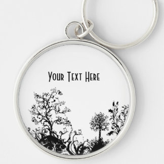 Black & White Swirly Landscape Trees Fruit Hills Keychain