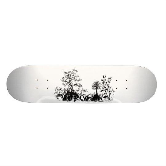 Black & White Swirly Landscape Trees Fruit Hills Skateboard Deck