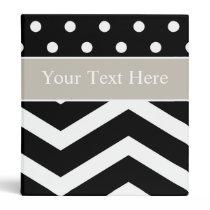 Black White Tan Pattern Custom Binder