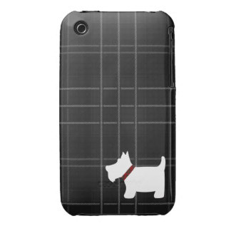 Black & White Tartan Pattern with Scottie Dog Case iPhone 3 Covers