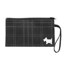 Black & White Tartan with  Scottie Dog Silhouette Wristlet Purse