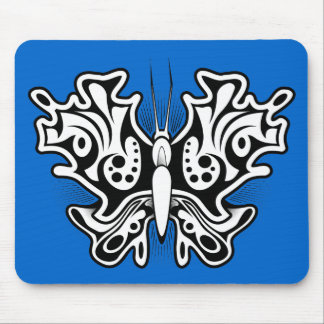 Black White TATTOO BUTTERFLY rough tough graphics Mouse Pad