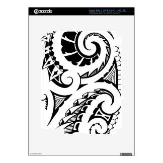 Black & white tattoo design in Maori style art Skin For iPad 3