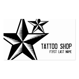 Black white tattoo shop star symbol custom cards Double-Sided standard business cards (Pack of 100)