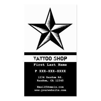 Black white tattoo star custom business cards