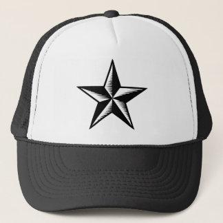 Black white tattoo star plain hat
