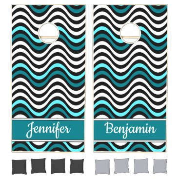Beach Themed Black White Teal Abstract Wave Monogram Name Beach Cornhole Set