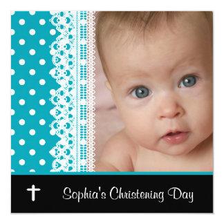 Black White Teal Baby Girl Photo Christening Card