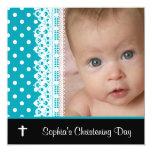 Black White Teal Baby Girl Photo Christening Custom Announcement