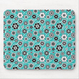 Black White Teal Blue Fun Flowery Pattern Mouse Pad
