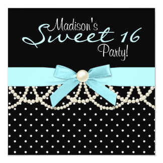 """Black White Teal Blue Sweet 16 Birthday Party 5.25"""" Square Invitation Card"""