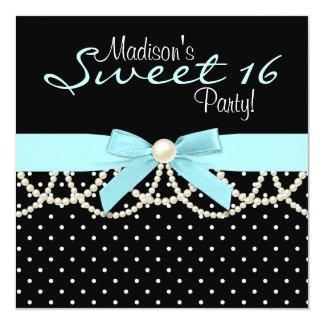 Black White Teal Blue Sweet 16 Birthday Party Custom Invitations