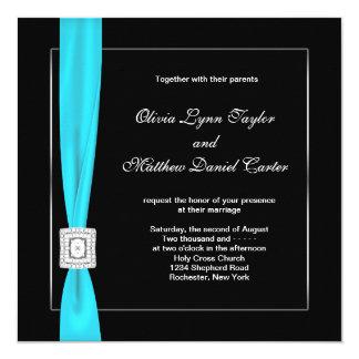 Black White Teal Blue Teal Bow Wedding Card