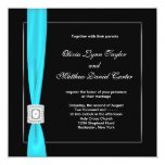 Black White Teal Blue Teal Bow Wedding Invite