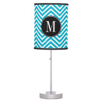 Black White Teal Chevron Pattern Custom Monogram Table Lamp
