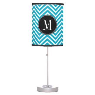 Black White Teal Chevron Pattern Custom Monogram Table Lamp