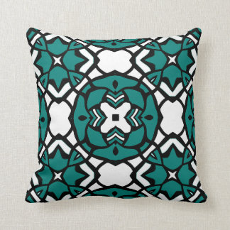 Black White Teal Green Oriental Mosaic Pattern Throw Pillow