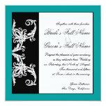 "Black White Teal Heart Damask Wedding Invitations 5.25"" Square Invitation Card"