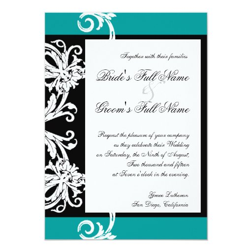 "Black White Teal Heart Damask Wedding Invitations 5"" X 7"" Invitation Card"