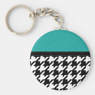 Black & White Teal Houndstooth Keychain