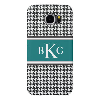 Black White Teal Houndstooth Pattern Monogram Samsung Galaxy S6 Case