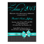 "Black White Teal Polka Dot Graduation Invitation 5"" X 7"" Invitation Card"