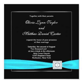 Black White Teal Silve Wedding Invitation