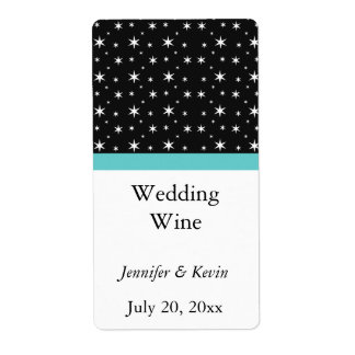 Black, White, & Teal Star Wedding Mini Wine Label