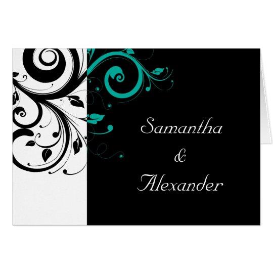 Black+White Teal Swirl Folded Wedding Invitation