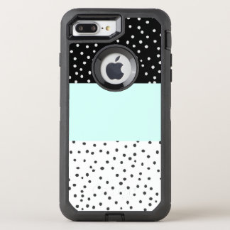 Black white teal watercolor polka dots color block OtterBox defender iPhone 8 plus/7 plus case