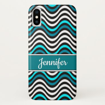 Beach Themed Black White Teal Wave Pattern Monogram Name iPhone X Case