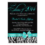 Black White Teal Zebra 2014 Graduation Invitation