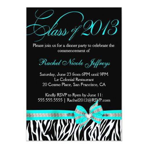 Black White Teal Zebra Graduation Invitation