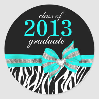 Black White Teal Zebra Graduation Seal Sticker
