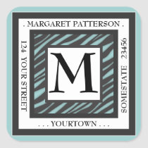 Black & White Teal Zebra Monogram Square Address Square Sticker