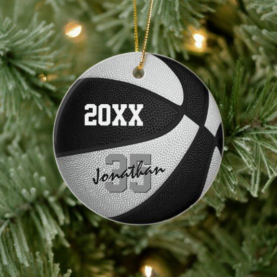 black white team colors basketball memento ceramic ornament