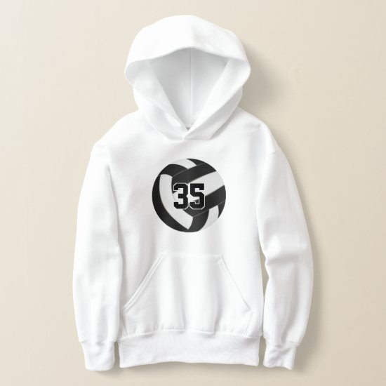 black white team colors jersey number volleyball hoodie