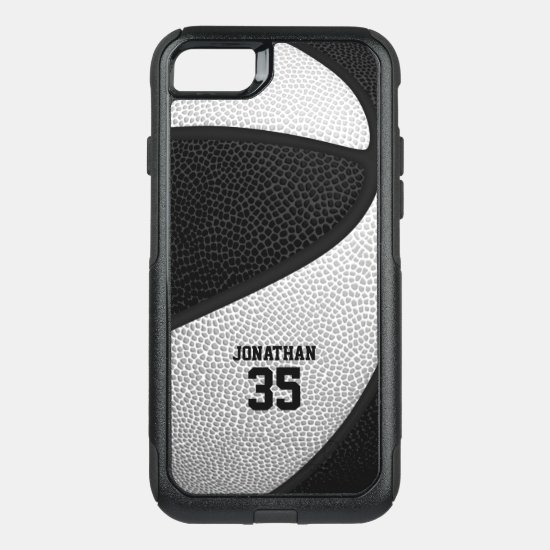 black white team colors personalized basketball OtterBox commuter iPhone SE/8/7 case