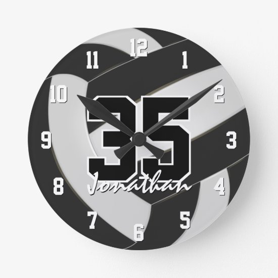 black white team colors players name volleyball round clock