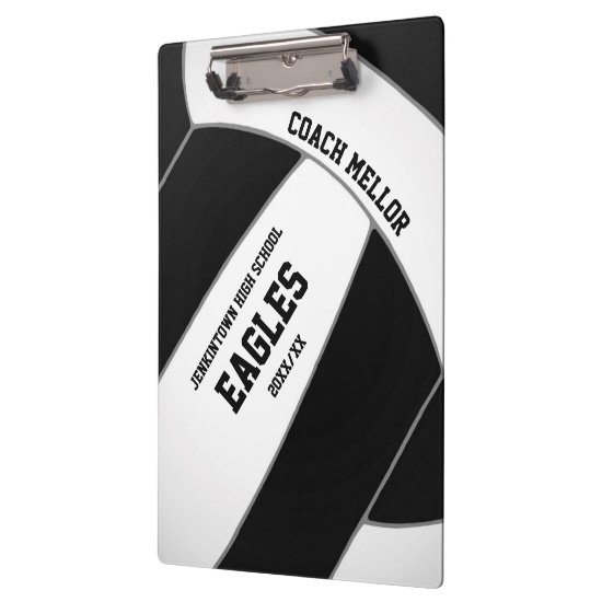 black white team colors volleyball coach clipboard