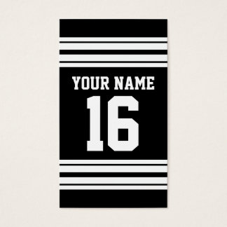 Black White Team Jersey Custom Number Name Business Card