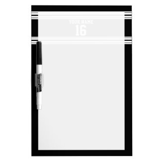 Black White Team Jersey Custom Number Name Dry-Erase Board