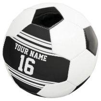 Black White Team Jersey Custom Number Name Soccer Ball