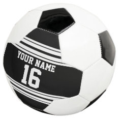 Black White Team Jersey Custom Number Name Soccer Ball at Zazzle