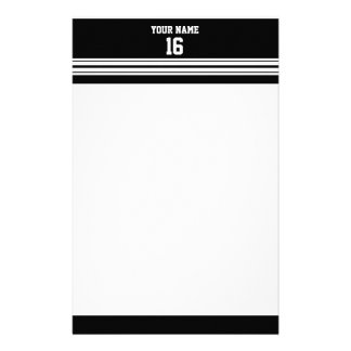 Black White Team Jersey Custom Number Name Stationery