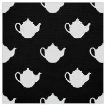 Black white teapots pattern fabric