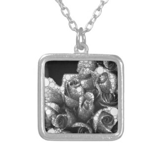 Black&White Textured Roses Silver Plated Necklace